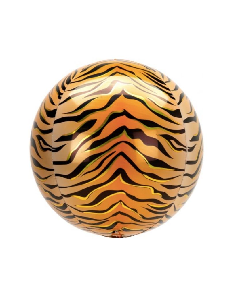 Tiger Stripe Orb Balloon Filled with Helium