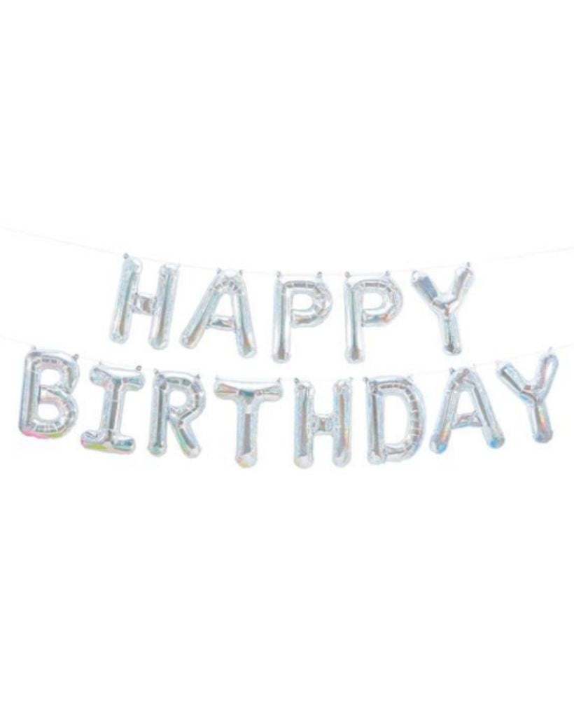 Holographic Silver Happy Birthday Banner