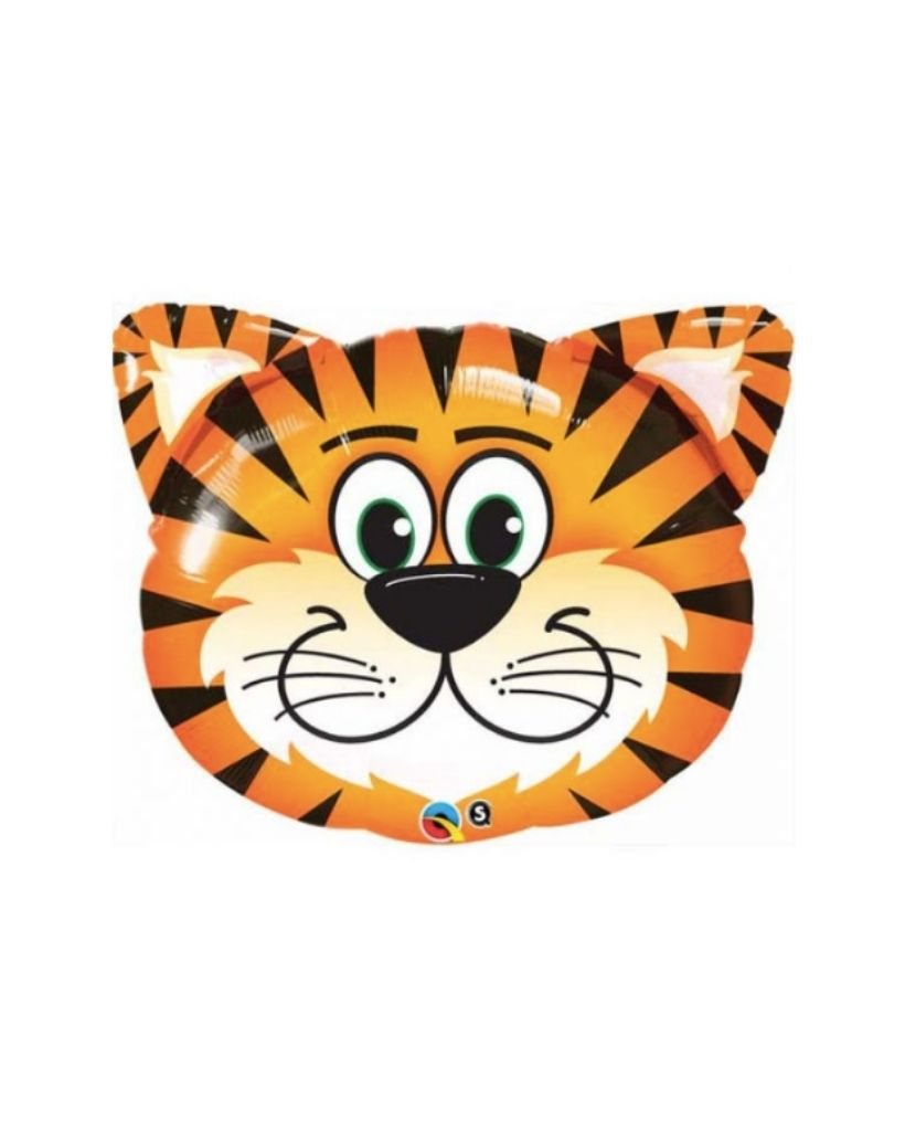 Tiger Face Foil Balloon Filled with Helium