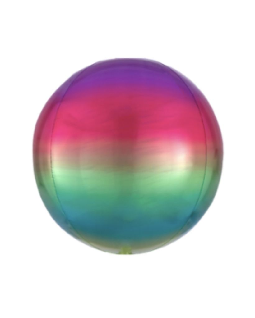 Rainbow Ombre Orb Balloon Filled with Helium
