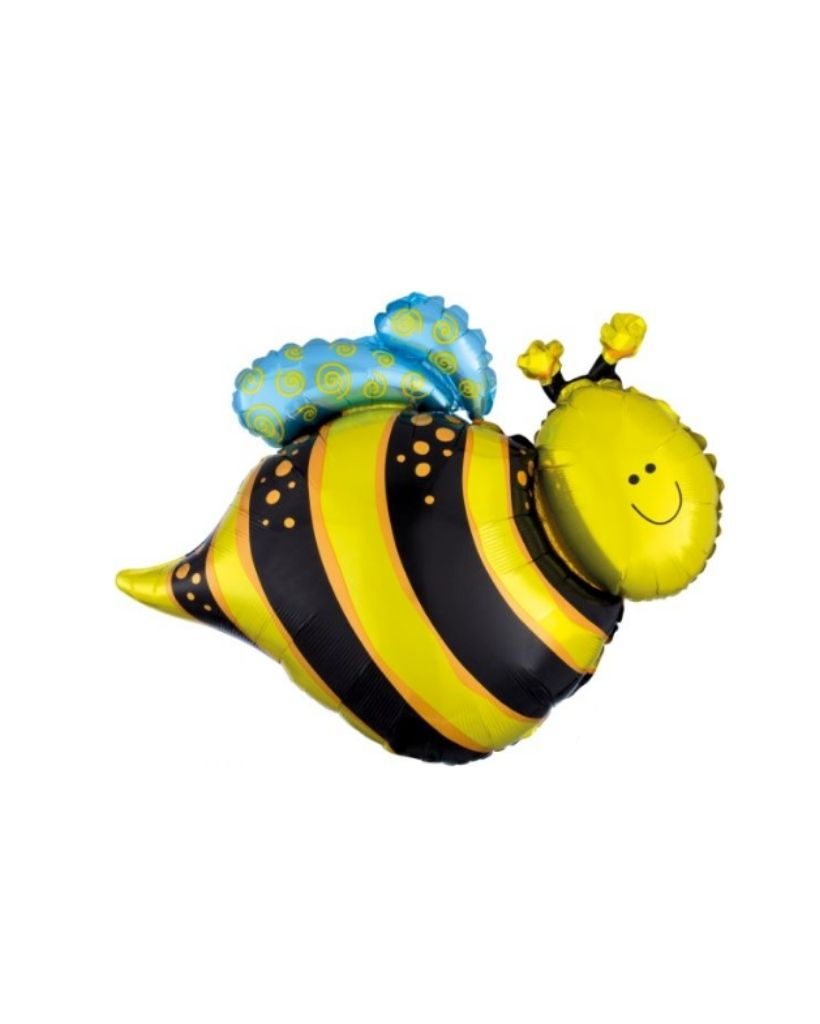 Happy Bee Foil Balloon Filled with Helium