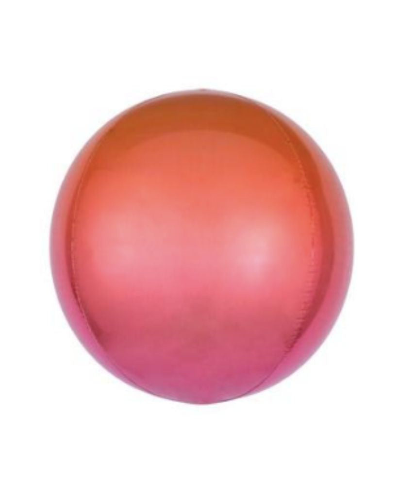 Red and Orange Ombre Orb Balloon Filled with Helium