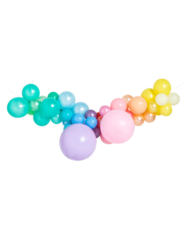 Large Pastel Rainbow Balloon Garland Inflated