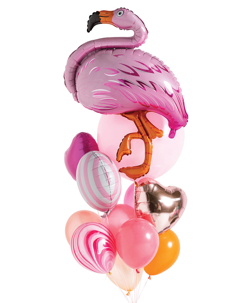 Flamingo Balloon Bouquet Filled with Helium