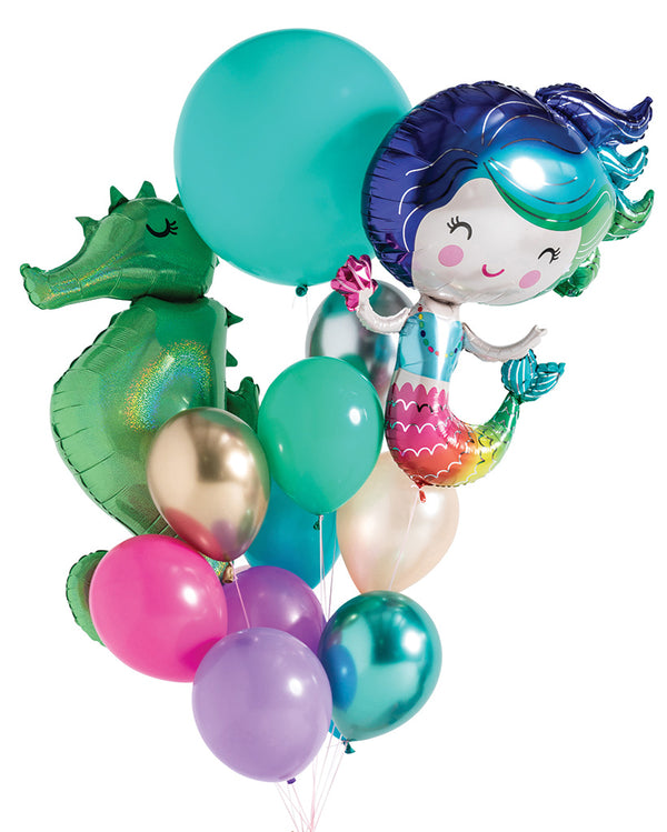 Mermaid Balloon Bouquet Filled with Helium