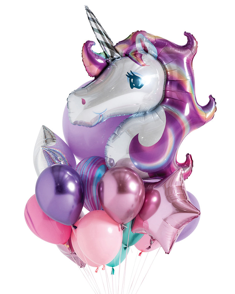 Unicorn Balloon Bouquet Filled with Helium