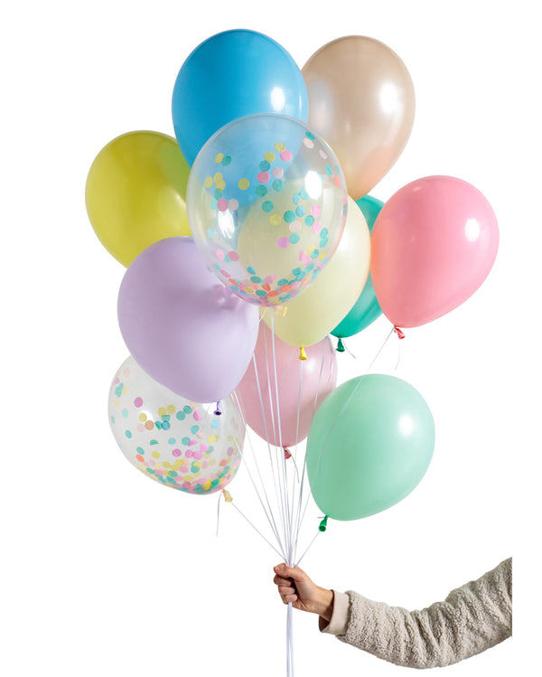 Pastel Rainbow Balloon Set Filled with Helium