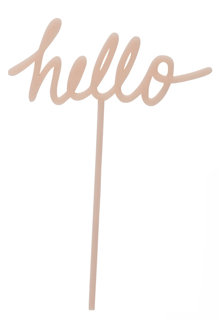 Hello Pink Cake Topper