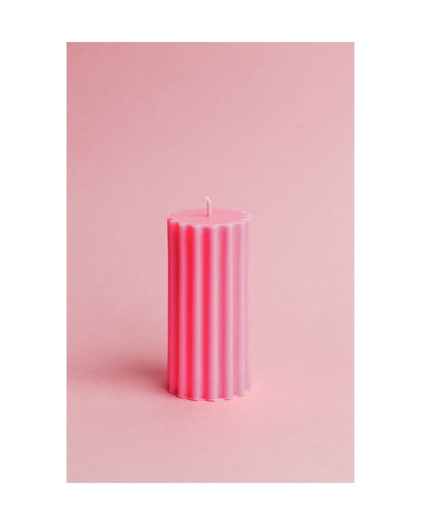 Bright Pink Pillar Dinner Table Candle