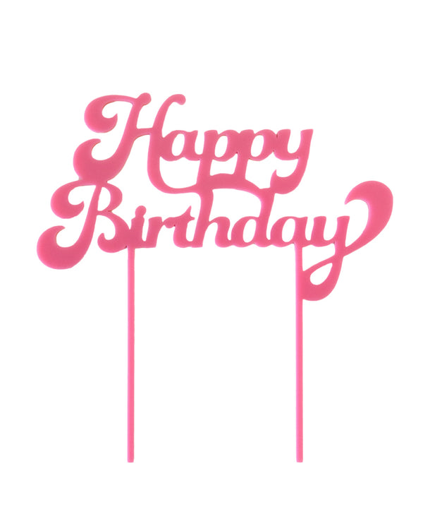 Bubble Gum Pink Happy Birthday Cake Topper