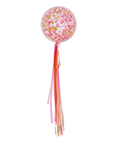 Pink Shimmer Confetti Balloon + Streamers