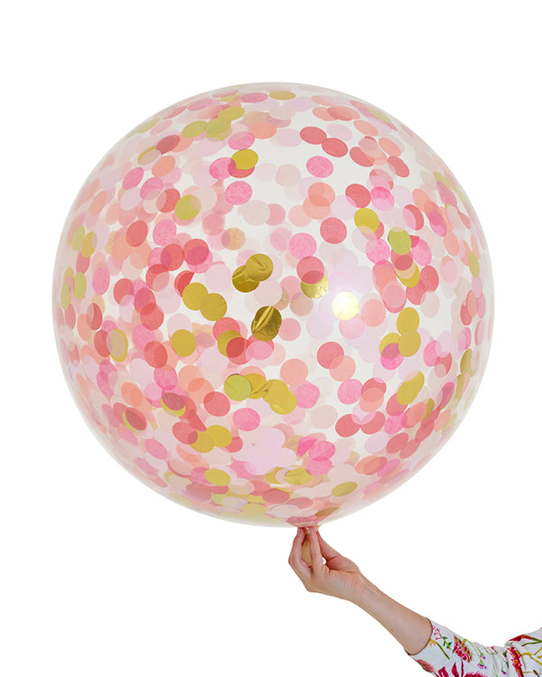 Pink Shimmer Jumbo Confetti Balloon Filled with Helium