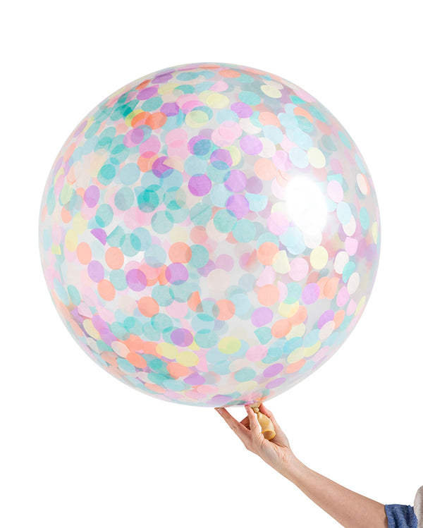 Pastel Rainbow Jumbo Confetti Balloon Filled with Helium