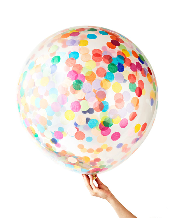 Rainbow Jumbo Confetti Balloon Filled with Helium