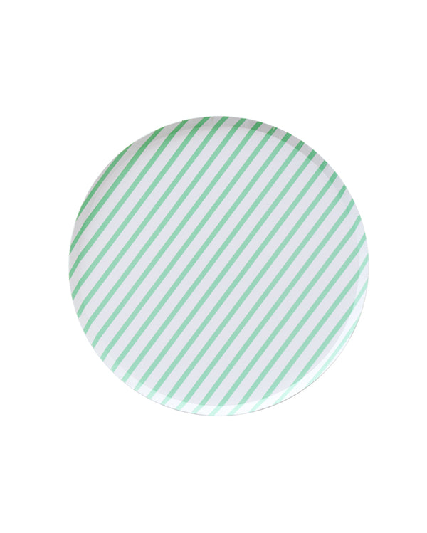 Oh Happy Day Mint Stripe Large Plate Set