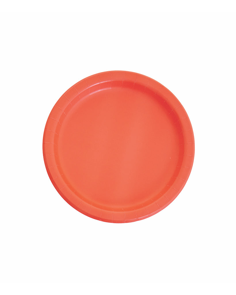 Small Coral Paper Plates
