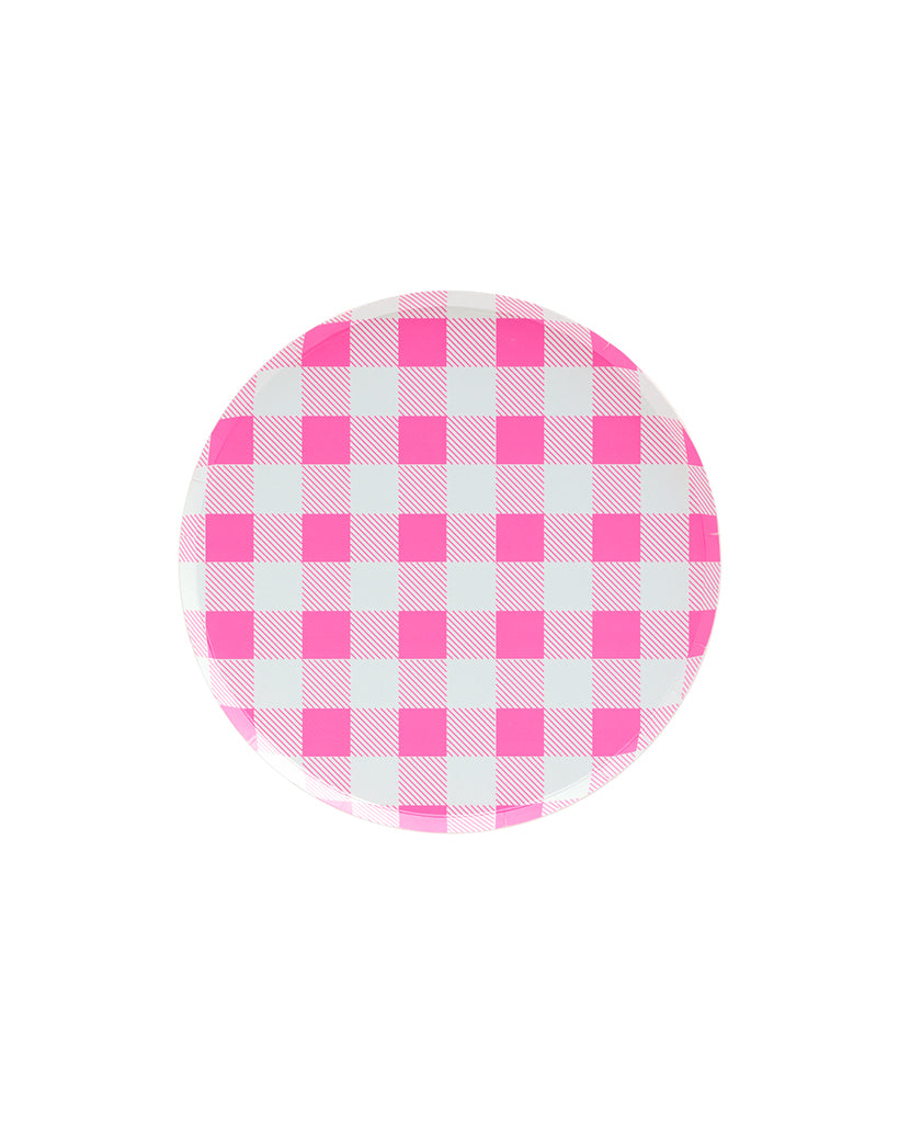 Oh Happy Day Neon Rose Gingham Small Plate Set