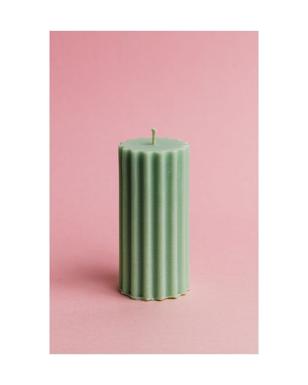 Soft Green Pillar Dinner Table Candle