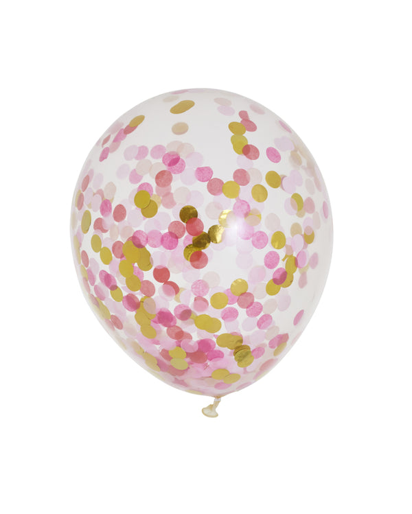 3 Flat Pink Shimmer Standard Confetti Balloons