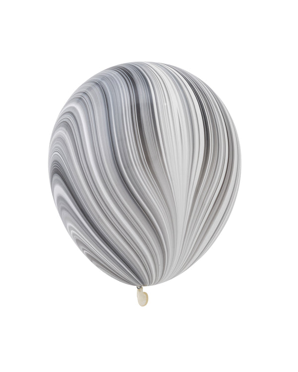 5 Flat Black and White Marble Standard Balloons