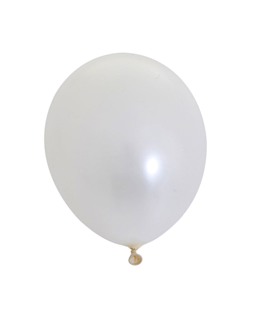5 Flat Pearl White Standard Balloons