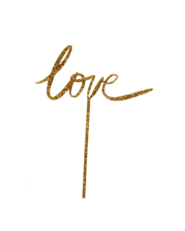 Love Glitter Gold Cake Topper