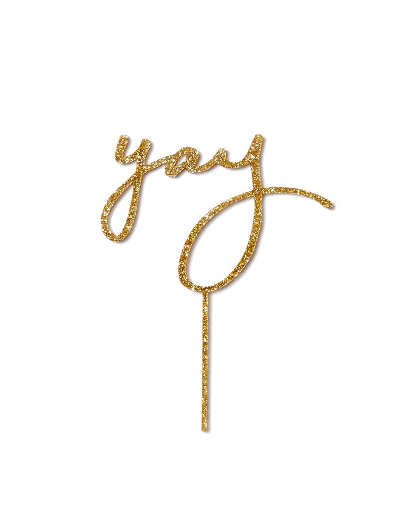 Yay Gold Acrylic Cake Topper