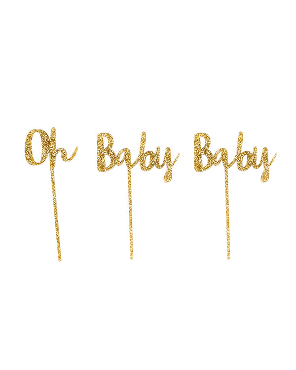 Oh Baby Baby Gold Cake Topper Set