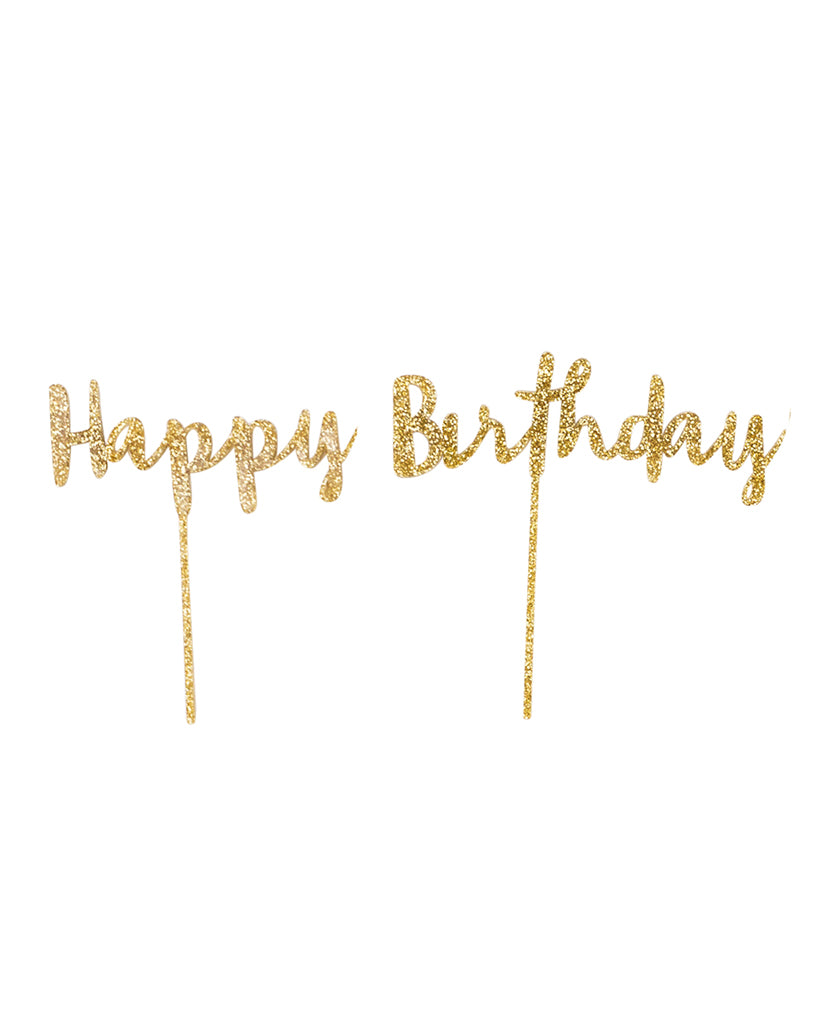 Happy Birthday Gold Cake Topper Set