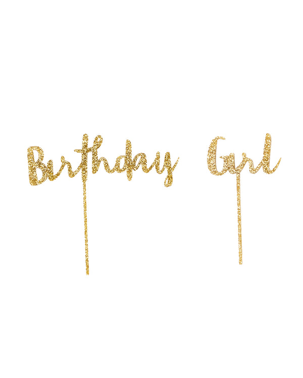 Birthday Girl Gold Cake Topper Set