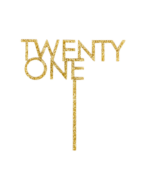 Twenty One Gold Cake Topper