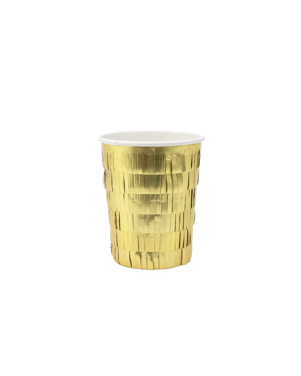 Gold Metallic Fringe Party Cups