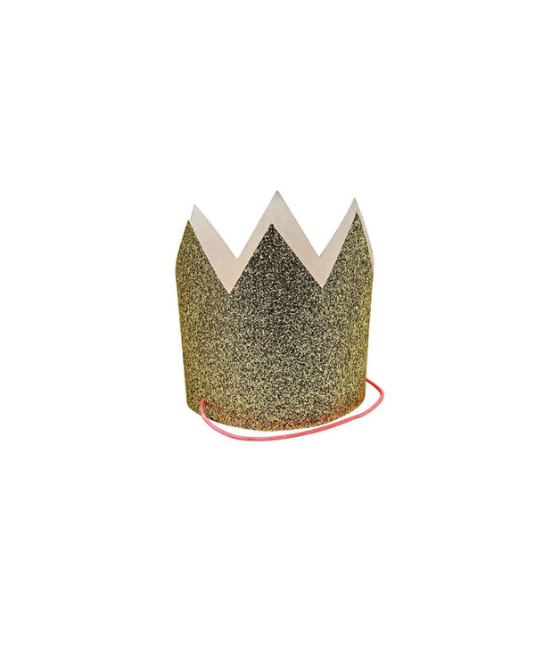 Mini Gold Glitter Party Crowns