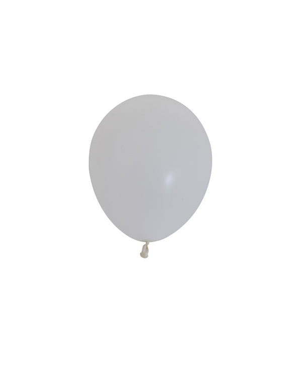 5 Flat White Mini Balloons