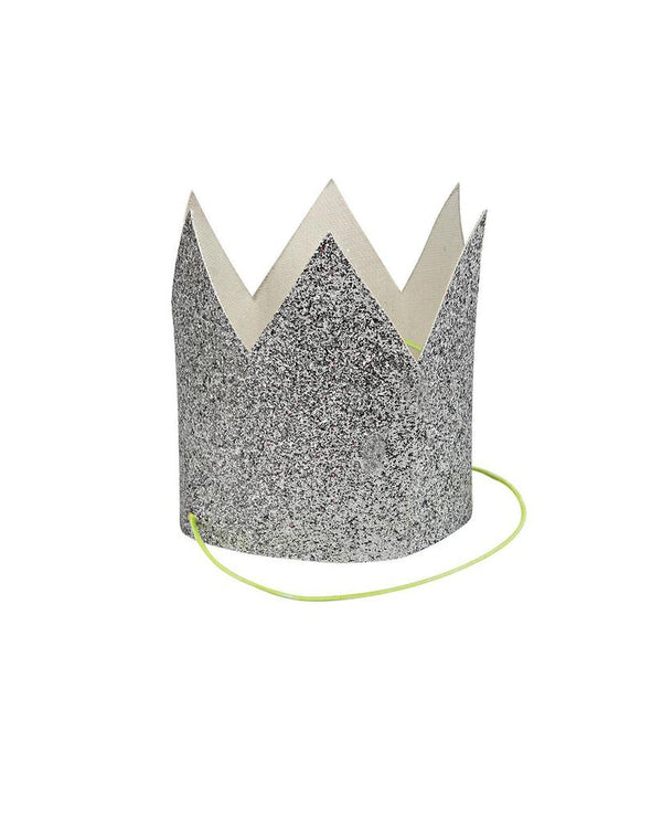 Mini Silver Glitter Party Crowns