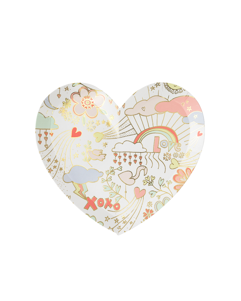Valentines Sketch Heart Large Plate