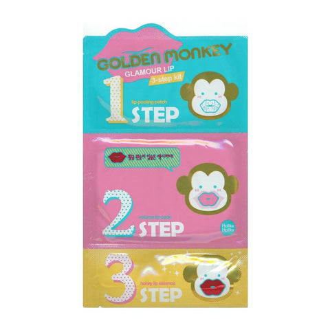 Holika Holika Golden Monkey Glamour Lip 3 Step Kit Treatment - Crystal Cove Beauty