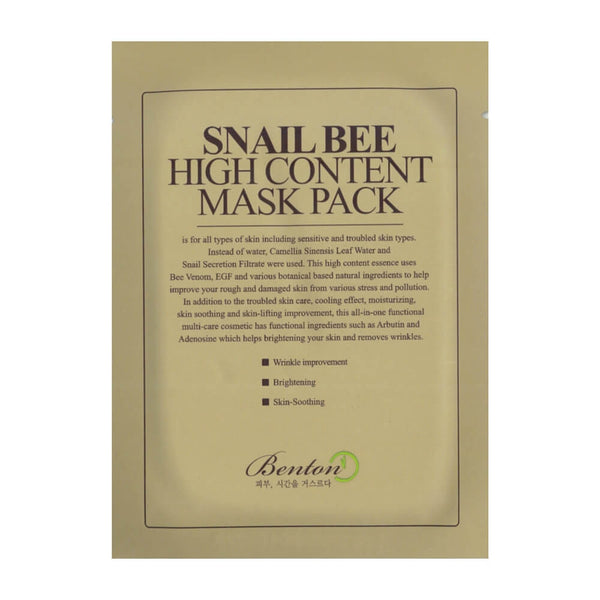 Benton Snail Bee Content Mask Pack Sheet Sheet Mask - Crystal Cove Beauty