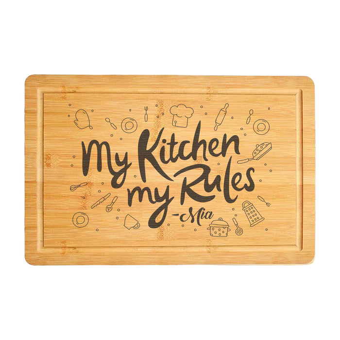 Awesome Cutting Board My Kitchen My Rules (3800)