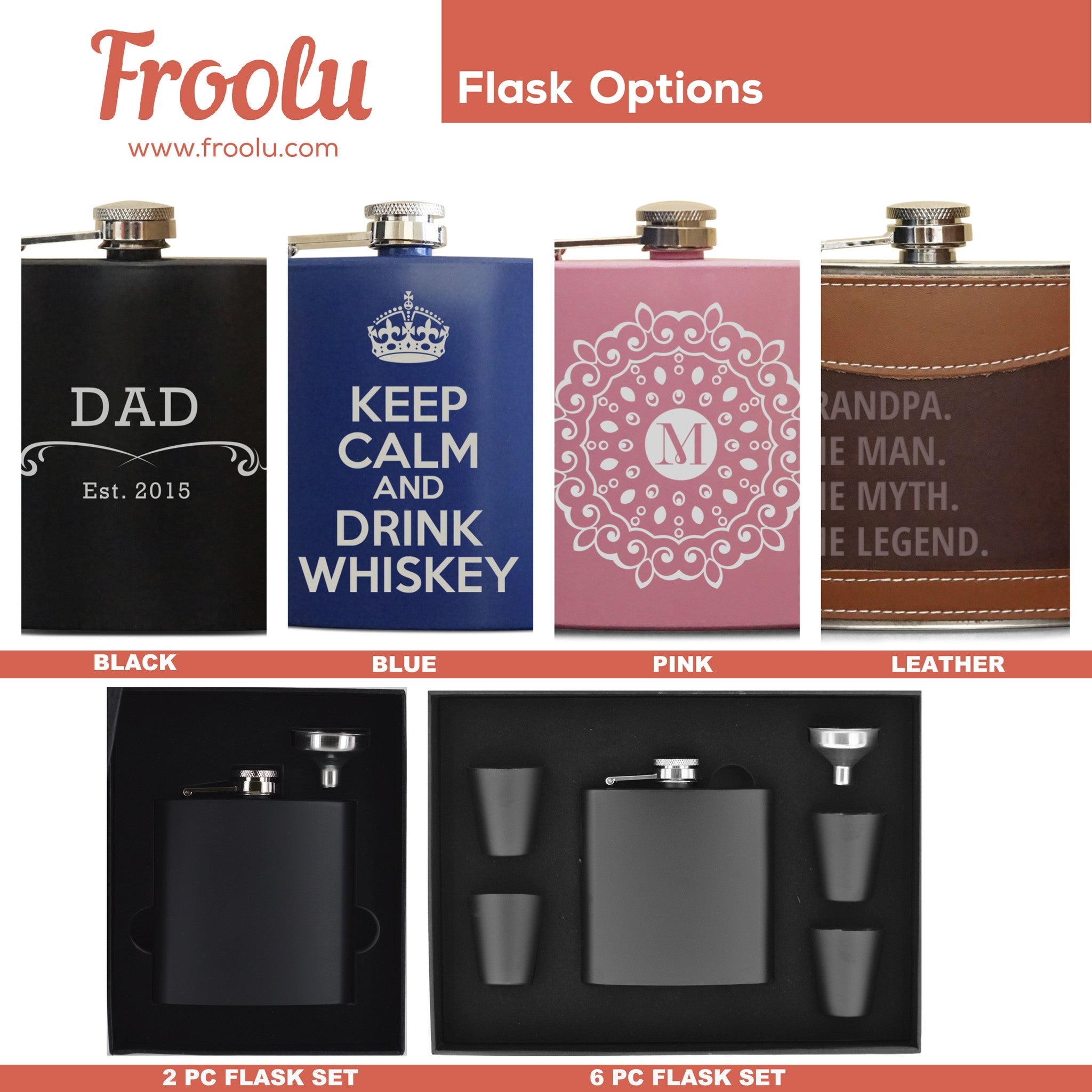 Personalized Flask Grandpa The Myth The Legend - Froolu - 2