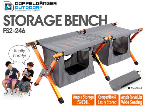 2 Seater Folding Bench With Storage Doppelganger Outdoor Australia Caravan Camping Tent