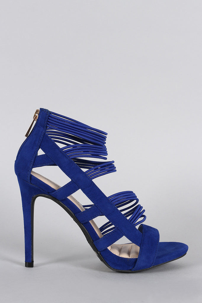 Anne Michelle Strappy Cage Cushioned Open Toe Heel
