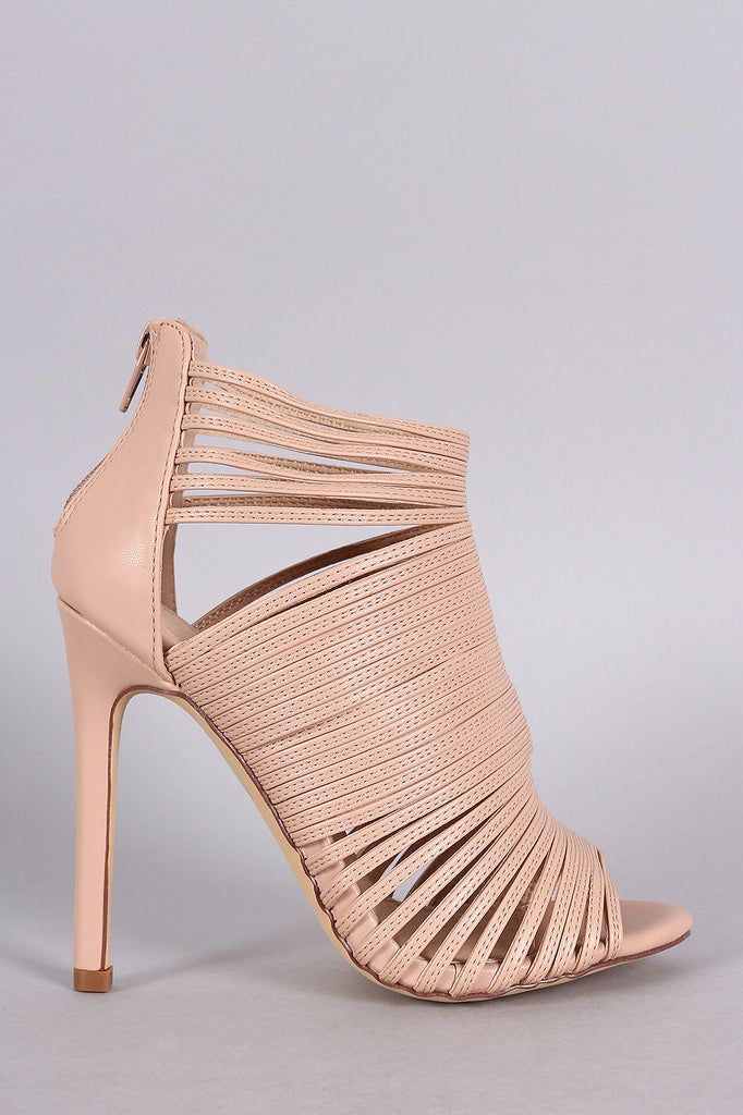 Liliana Strappy Peep Toe Caged Stiletto Heel