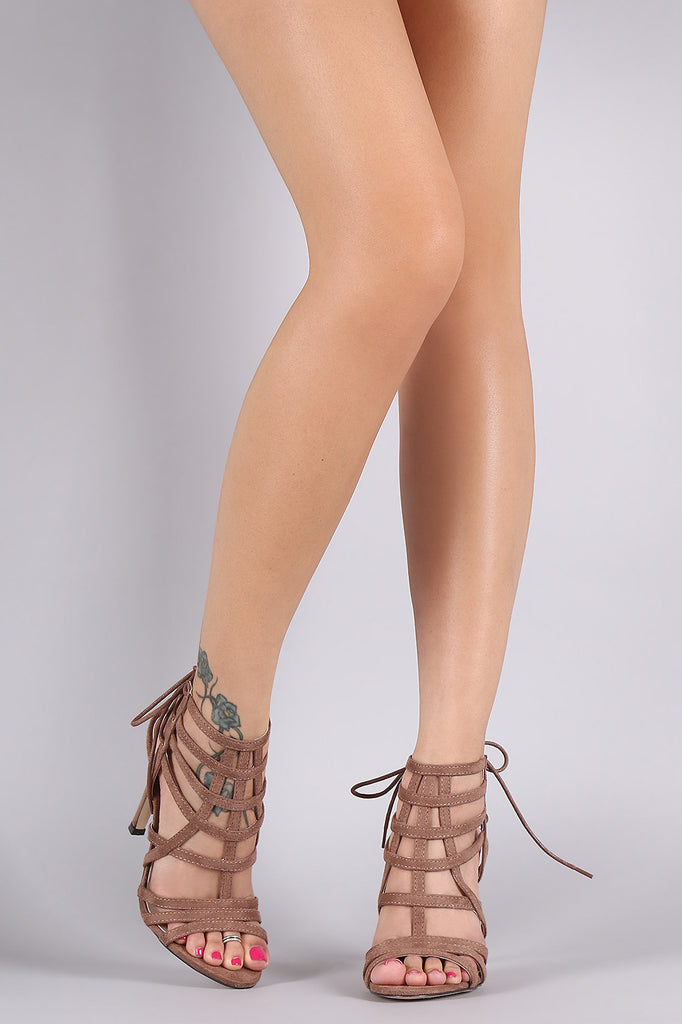 Qupid Back Lace-Up Caged Stiletto Heel