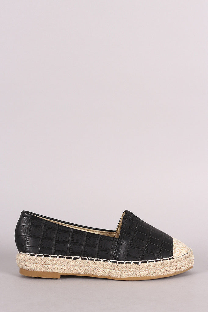 Crocodile Print Braided Espadrille Slip On Loafer Flat