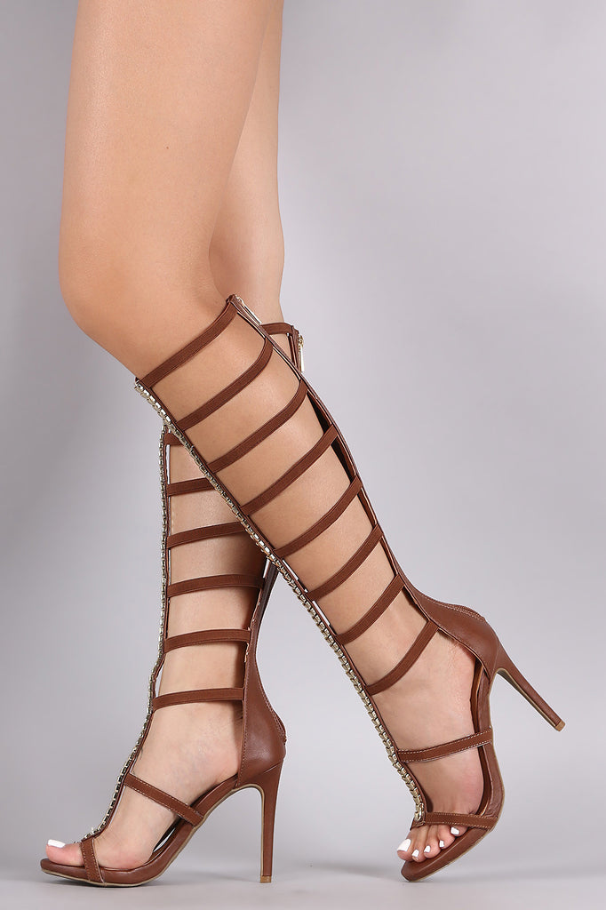 Anne Michelle Ornament Elasticized Gladiator Heel