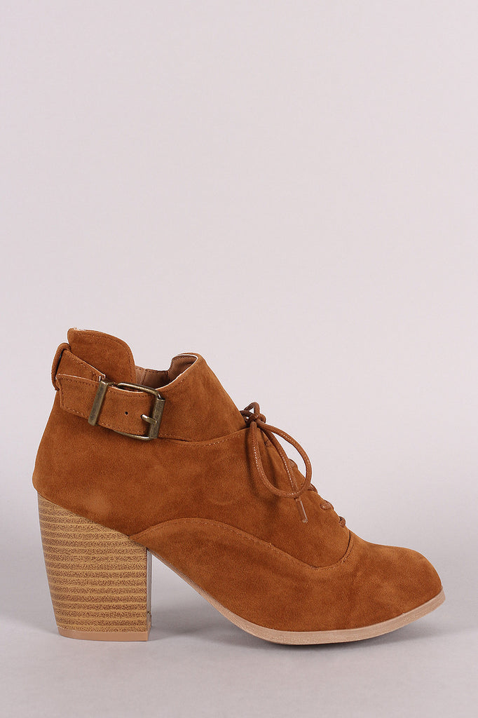 Qupid Lace Up Buckle Tongue Chunky Heel Booties