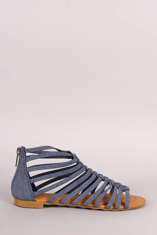 Bamboo Denim Strappy Knotted Gladiator Sandal