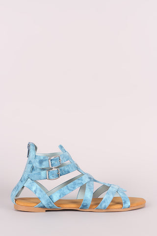 Bamboo Denim Buckled Strappy Gladiator Flat Sandal