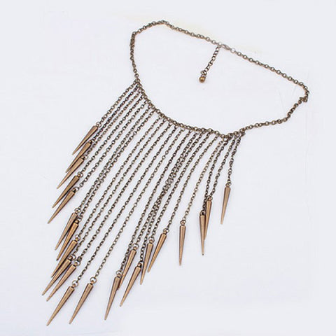 SALE - Retro Punk Style Gold/Copper/Silver Color Tassel Pendant Necklace